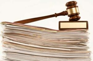 Legal papers and gavel